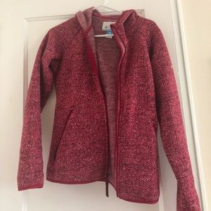 Red Columbia zip up sweater
